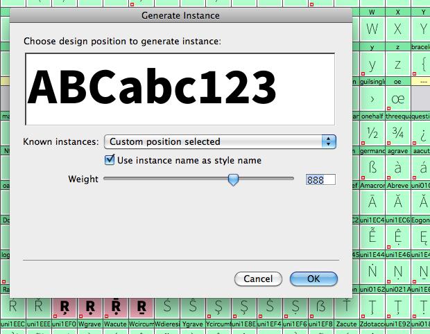 generate instance fontlab