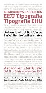 Cartel exposición tipografía EHU