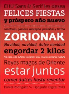Felicitación navideña tipográfica